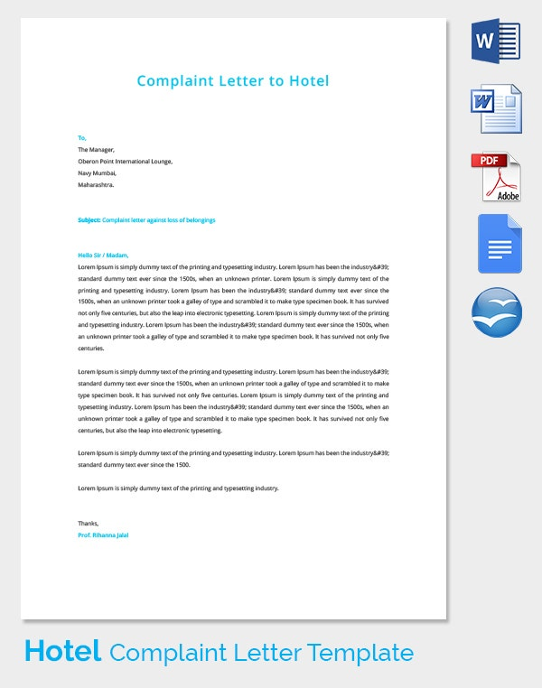 Complaint Letter Template on Hotel