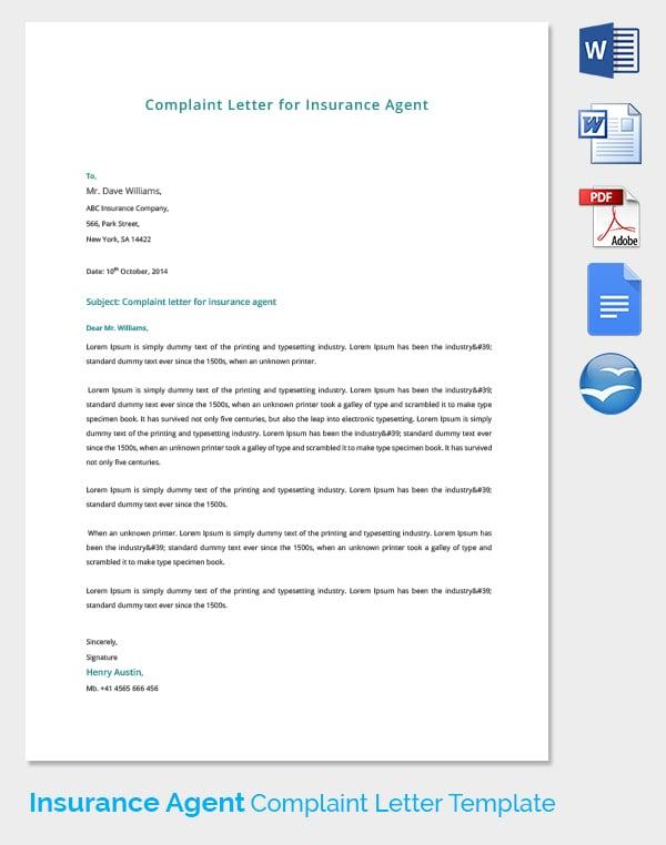 Insurance Agent Complaint Letter Template