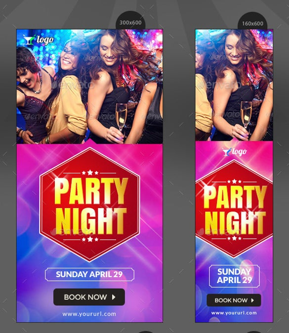 night club party sample banner template