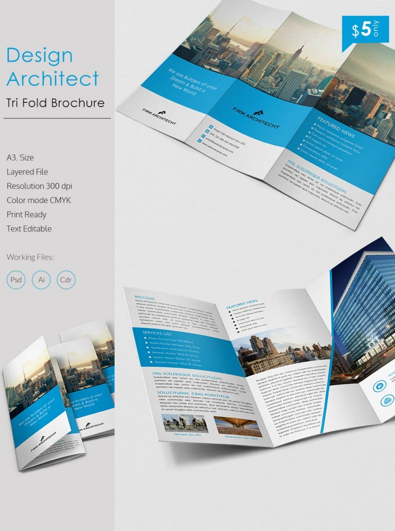 a brochure template - stunning design architect a3 tri fold brochure template