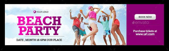 beach sample party banner template