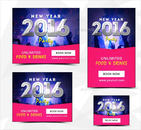 new year sample party banner template