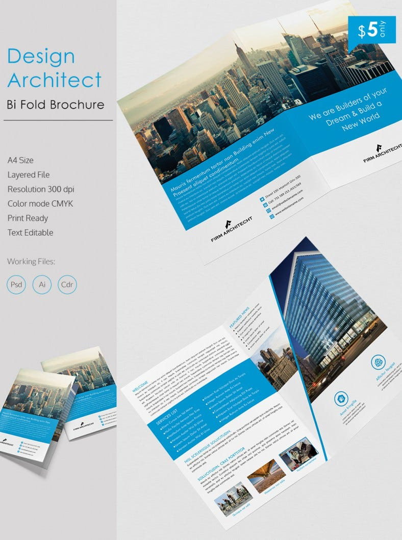 Creative design architect a4 bi fold brochure template for Bi fold brochure template indesign free
