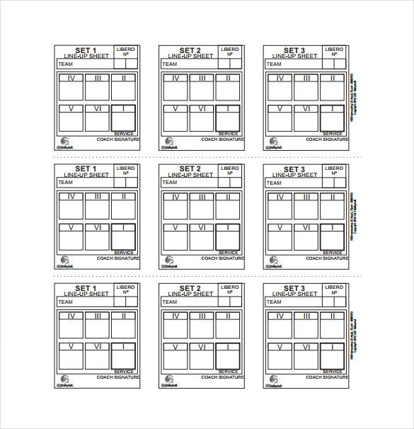 Good Line Up Sheet Example Template Free Download
