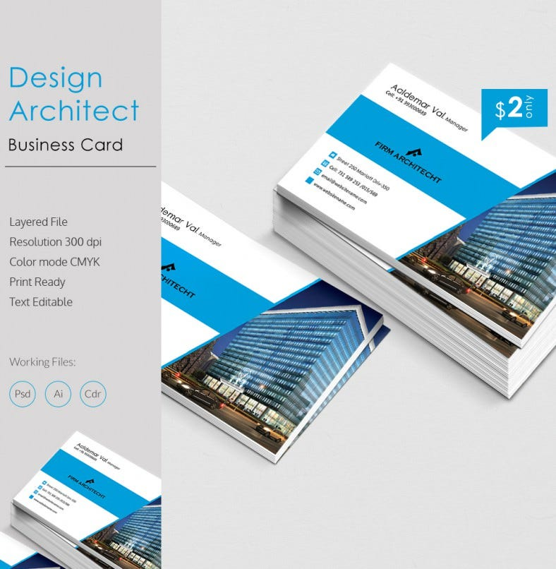 simple design architect business card template free premium