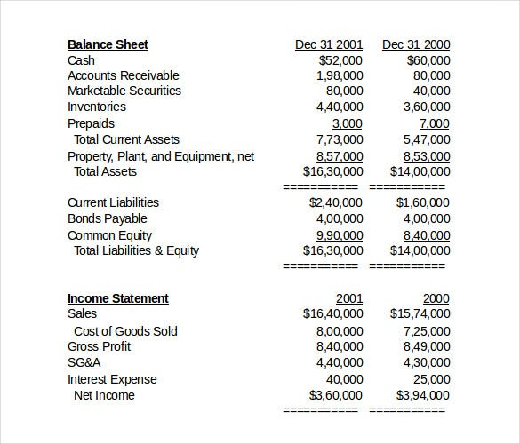free inventory income statement template