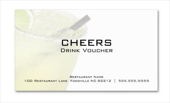 example margarita business drink voucher cards business card