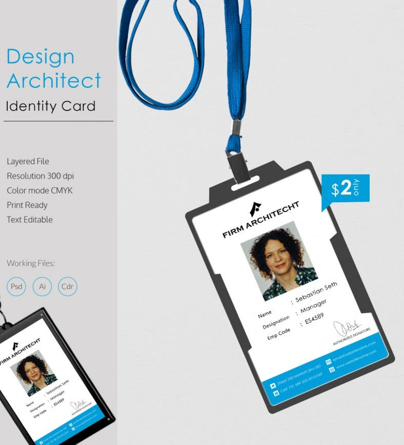 perfect design architect identity card template free premium