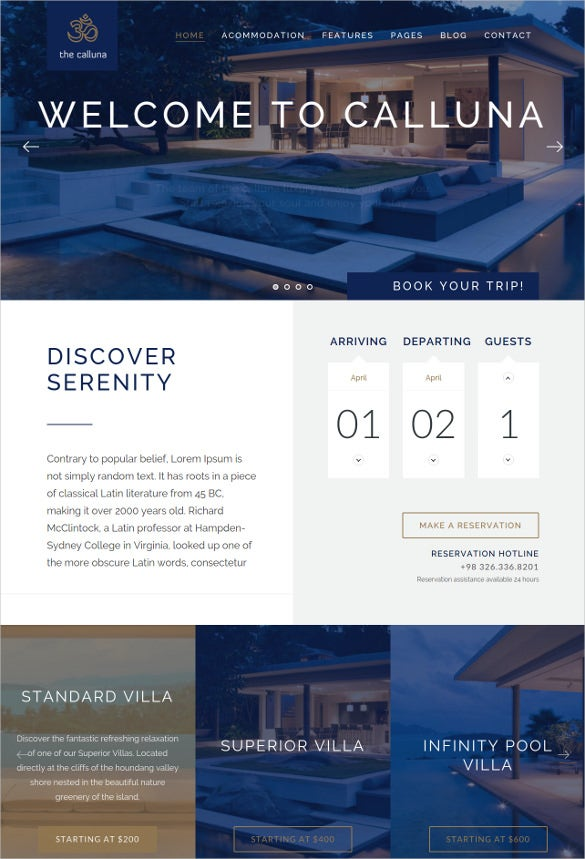 hotel resort wordpress website theme