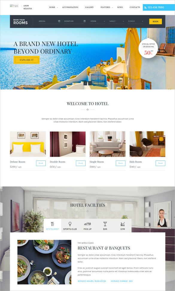 30 hotel website themes templates free premium templates. Black Bedroom Furniture Sets. Home Design Ideas