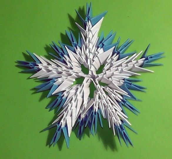 3d origami snowflake tutorial instruction