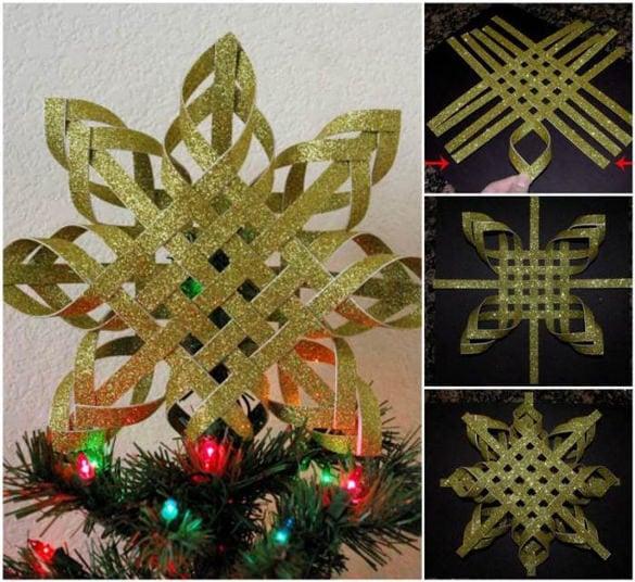 diy woven 3d paper snowflake ornaments