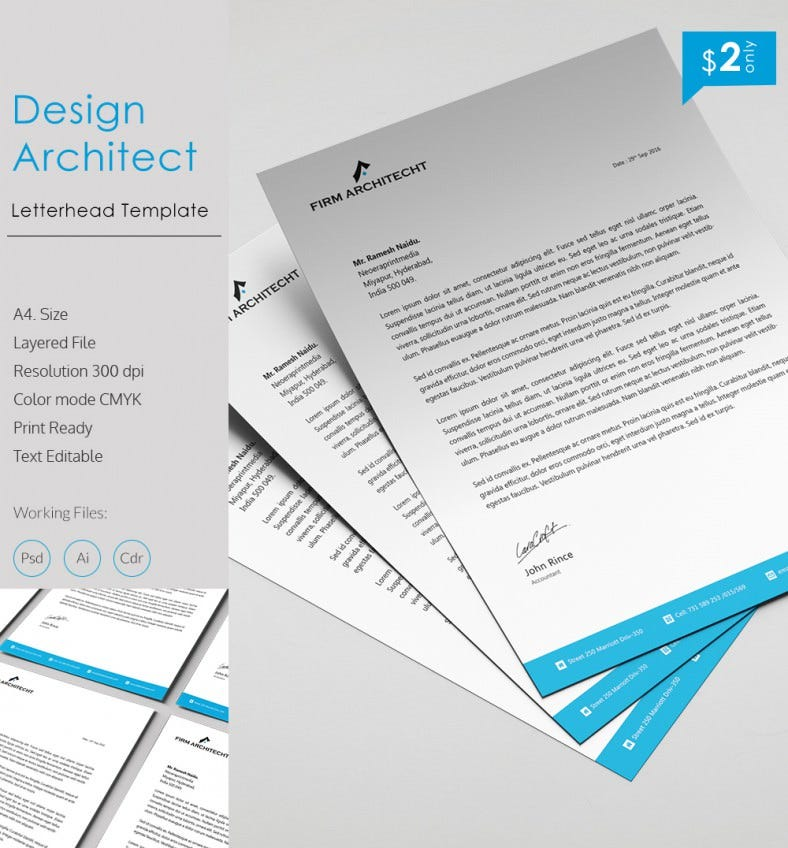 Unique Design Architect A4 Letterhead Template Free