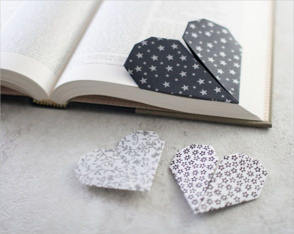 heart shape bookmark templates