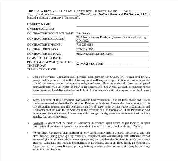 Snow Plowing Contract Template 20 Free Word PDF Documents – Free Contractor Forms Templates