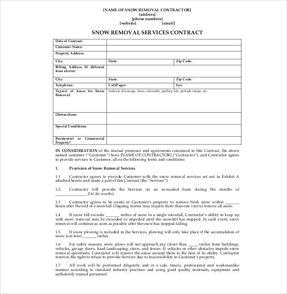 Snow Removal Services Contract Template  Basic Services Contract