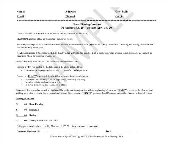 Snow Plowing Landscaping Contract Template