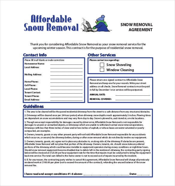 Snow Removal Contract Sample Geccetackletartsco - Snow plow contract template