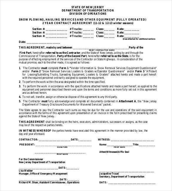 Contract Agreement For Snow Plowing PDF Free Download