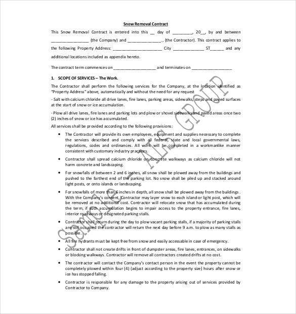 Snow Plowing Contract Templates DOC PDF Free Premium - Concrete contractor contract template