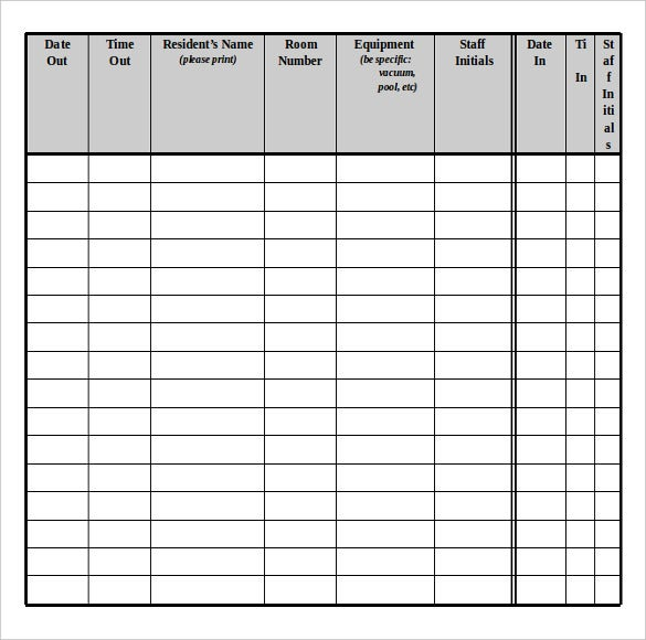 equipment return inventory document free download