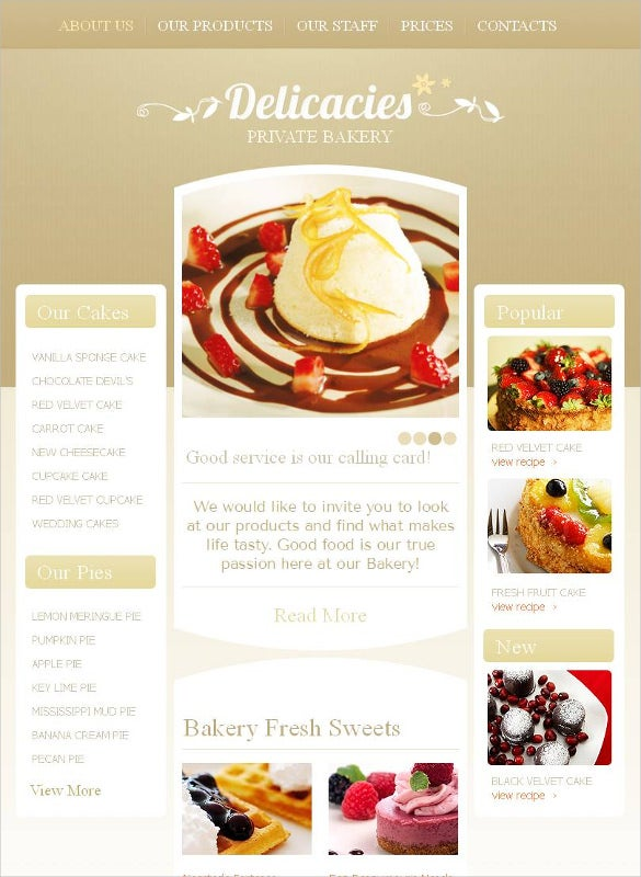bakery facebook html cms template