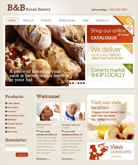 bakery facebook html cms website template