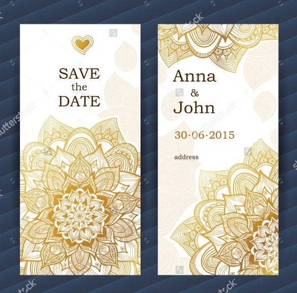 golden vintage wedding bookmark template download
