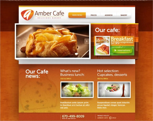 cafe bakery website template