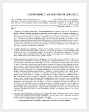 Confidential non compete agreement template
