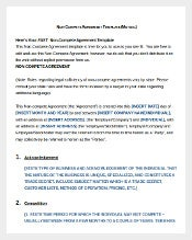 Free non compete Agreement Template