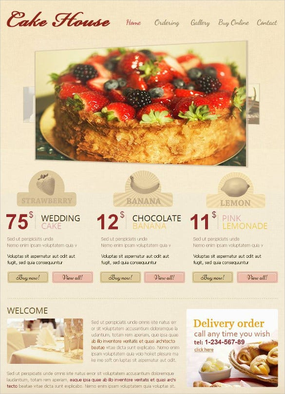 responsive bakery facebook html cms website template