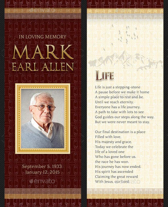 Funeral Bookmark Design Template Easy Download  Funeral Template Free
