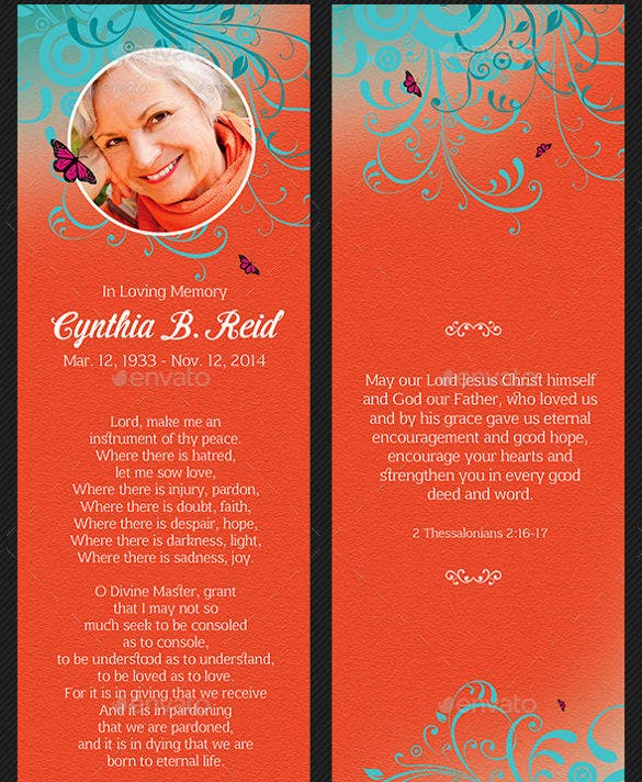 colorful backgroun funeral bookmark template download