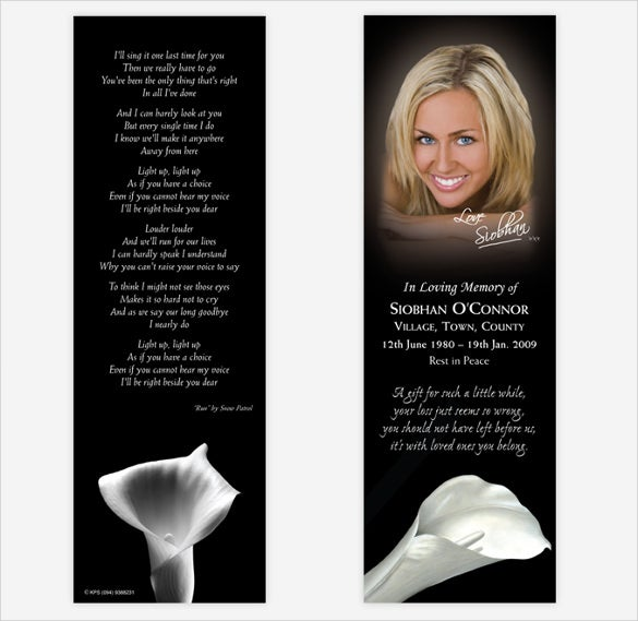 colorful funeral bookmark template download