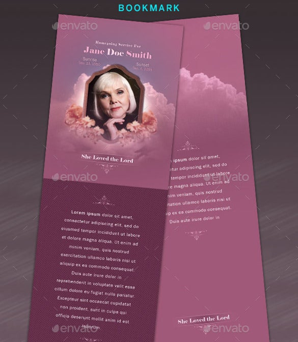 Professional Funeral Bookmark Template