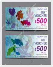 Example Spring Flower Gift Voucher Coupon Vector Illustration