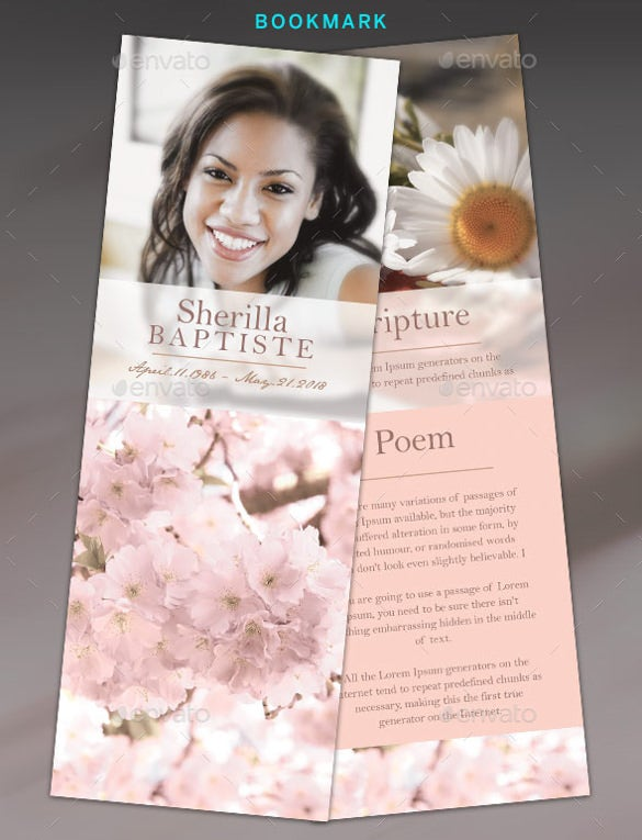 easy to edit funeral bookmark template