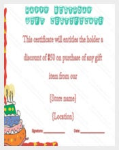 Example Birthday Gift Certificate Voucher Template