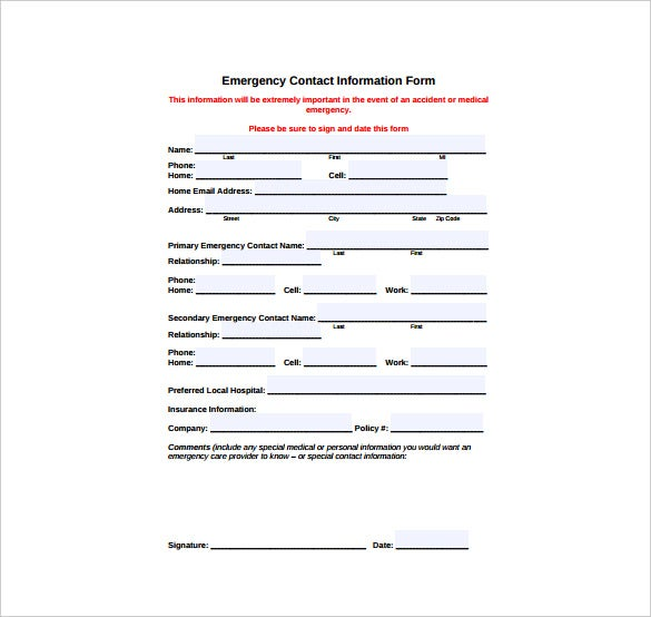 Contact Information Form Template  Contact Information Template