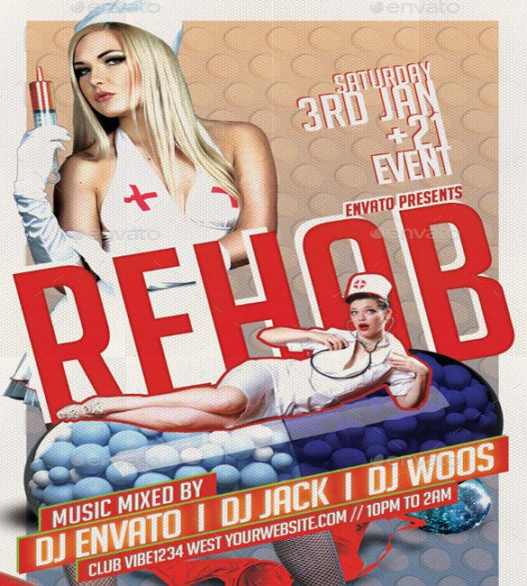 retro style rehab party flyer