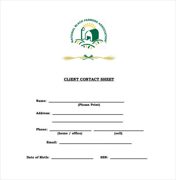 client information form template free download - 9 contact sheet templates doc pdf free premium