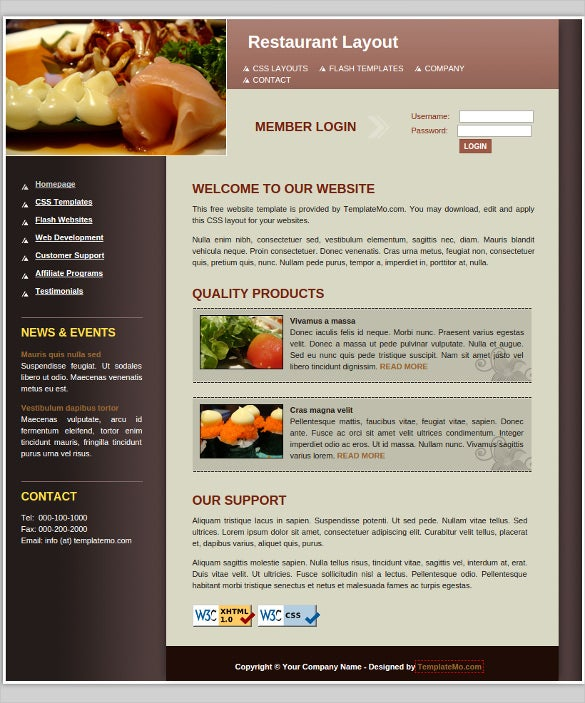 Restaurant html website themes templates free