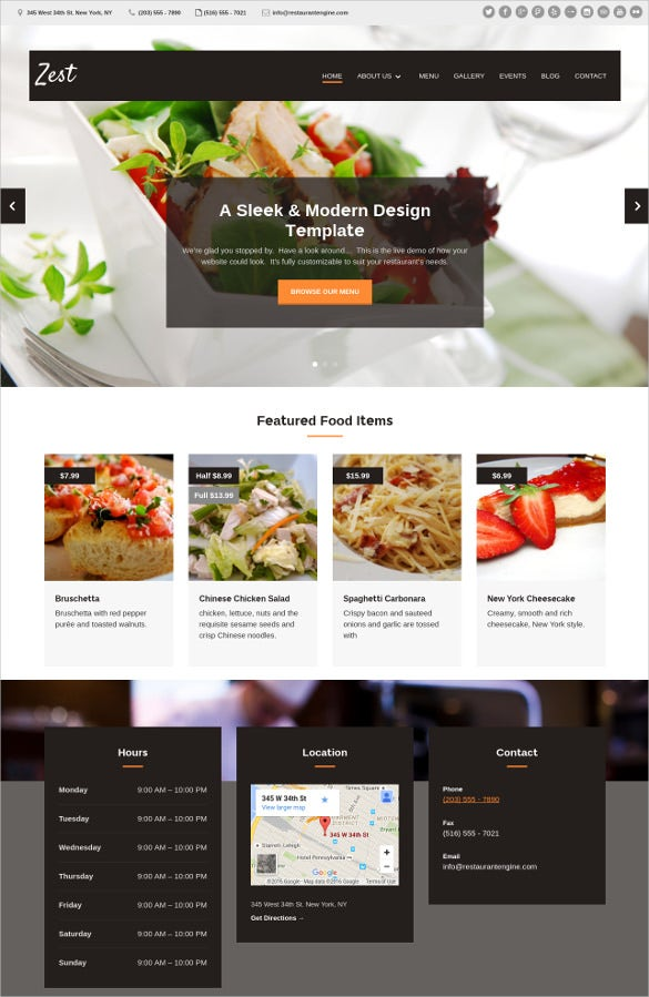 Modern Design Restaurant Website Templat