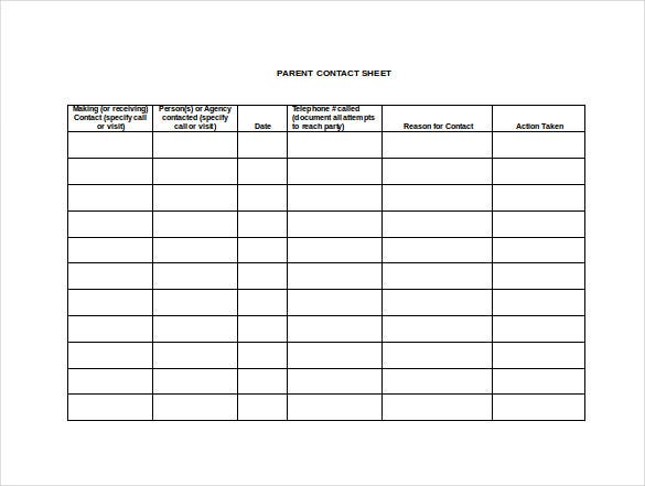 contacts spreadsheet template - 9 contact sheet templates doc pdf free premium