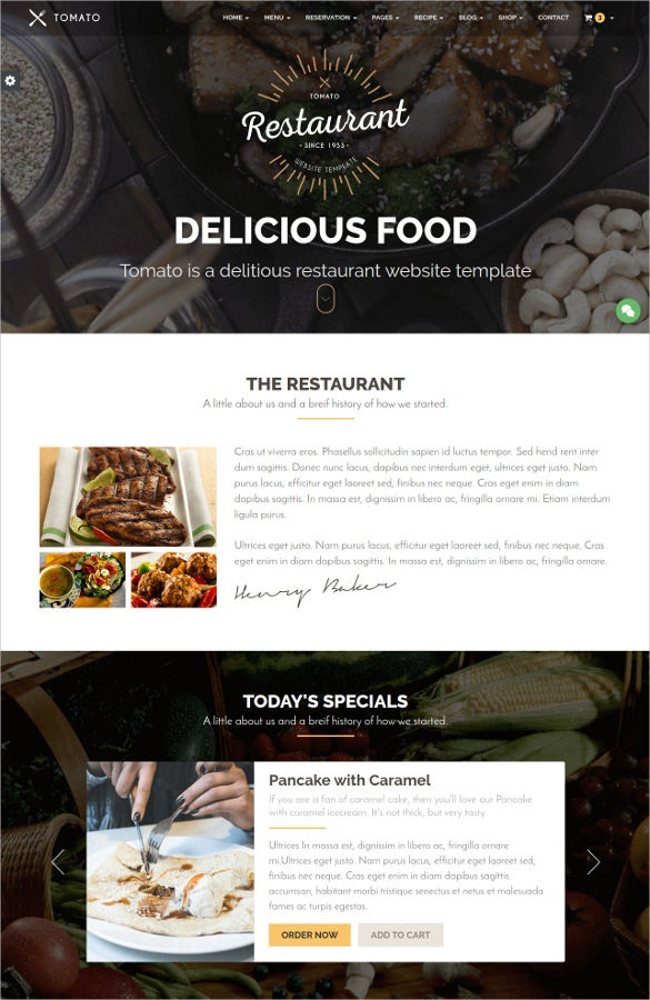 delicious food restaurant website template