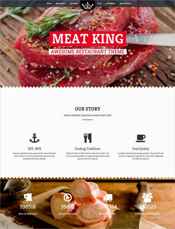 awesome restaurant website theme