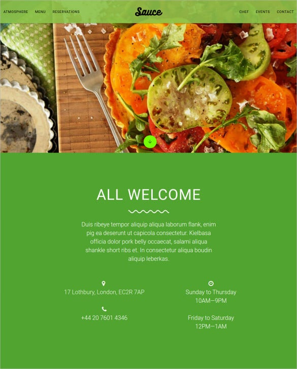 material design restaurant cafe website template