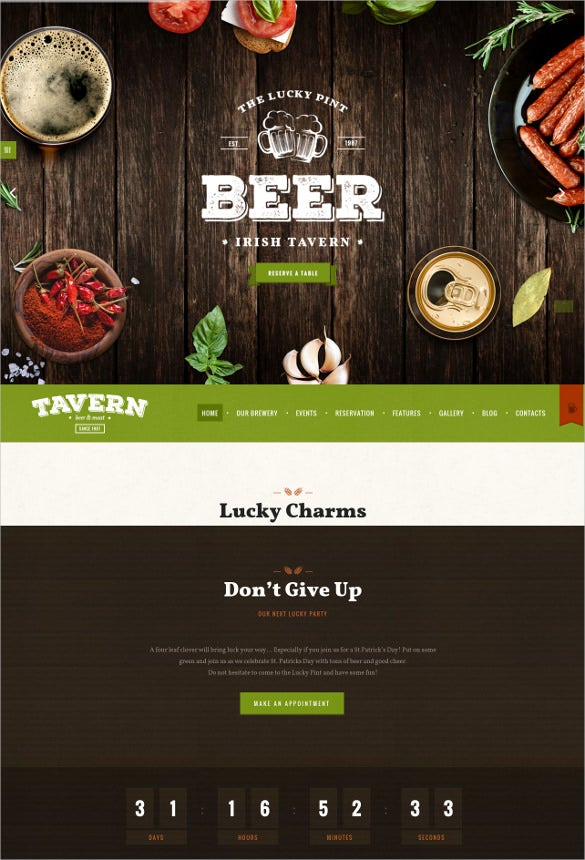 restaurant brewery website template