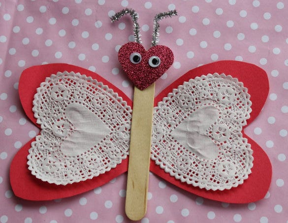 fluttering hearts butterfly paper construction idea